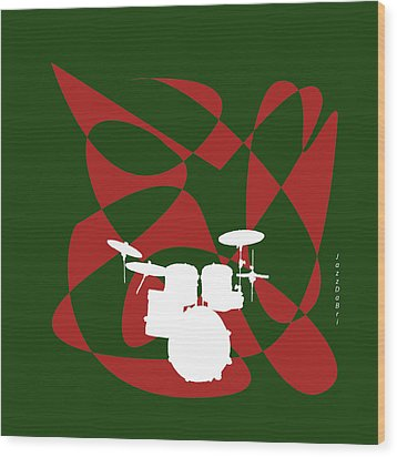 Drums In Green Strife Wood Print
