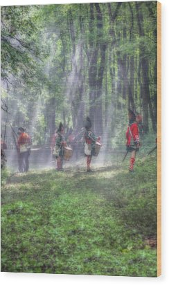 Drums In The Forest Before The Battle Wood Print by Randy Steele