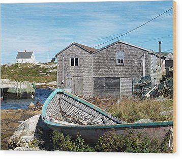 Dry Dock At Peggy's Cove Wood Print by Richard Mansfield