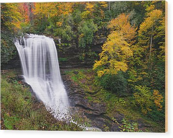 Dry Falls Highlands North Carolina Wood Print by Rick Dunnuck