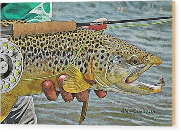 Dry Fly Brown Wood Print by Alex Suescun