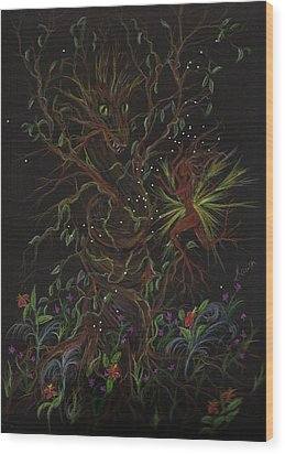Wood Print featuring the drawing Dryad Brings News by Dawn Fairies
