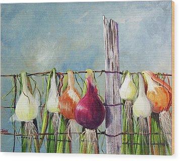 Drying Onions Wood Print