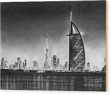 Dubai Cityscape Drawing Wood Print