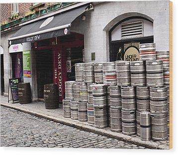 Dublin Beer Kegs Wood Print by Rae Tucker