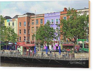 Dublin Building Colors Wood Print by John Rizzuto