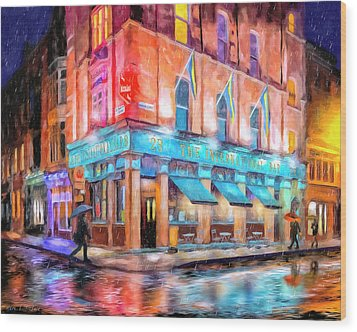 Dublin In The Rain Wood Print by Mark Tisdale