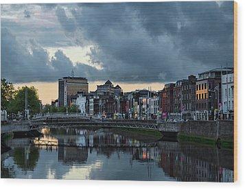 Dublin Sky At Sunset Wood Print