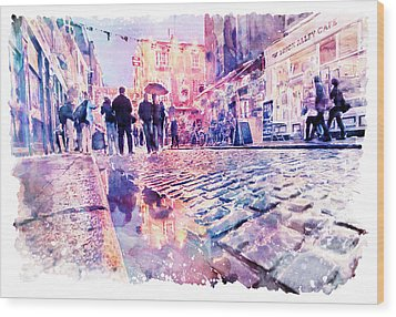 Wood Print featuring the mixed media Dublin Watercolor Streetscape by Marian Voicu