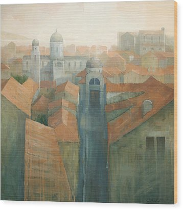 Dubrovnik Rooftops Wood Print by Steve Mitchell