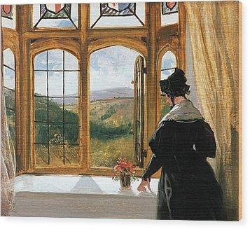 Duchess Of Abercorn Looking Out Of A Window Wood Print by Sir Edwin Landseer