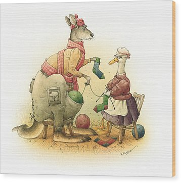 Duck And Kangaroo Wood Print