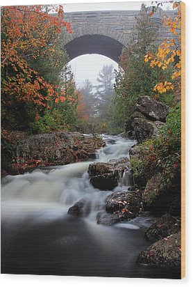 Duck Brook Bridge In The Rain Wood Print by Dave Sribnik