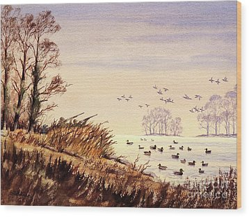 Wood Print featuring the painting Duck Hunting Times by Bill Holkham