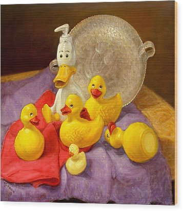 Wood Print featuring the painting Duck Soap by Donelli  DiMaria