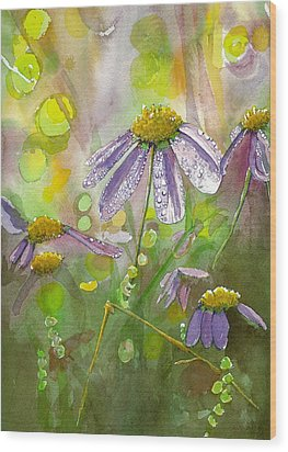 Wood Print featuring the painting Due Today Z - Dew To Daisy by Lynn Babineau