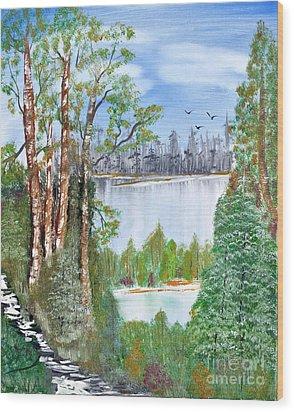 Dueling Lakes Wood Print