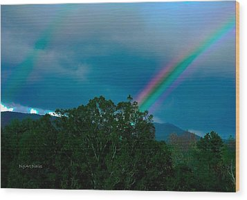 Dueling Rainbows Wood Print by DigiArt Diaries by Vicky B Fuller