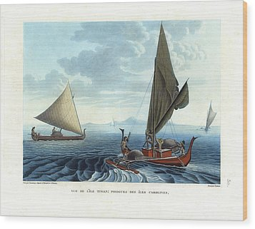Dugout Outriggers From The Carolines Seen On Tinian Island Wood Print