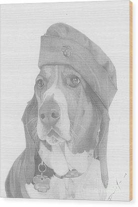 Duke Dog Drawing Wood Print