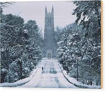 Duke Snowy Chapel Drive Wood Print