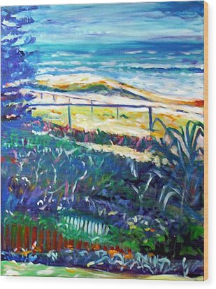 Wood Print featuring the painting Dune Grasses by Winsome Gunning