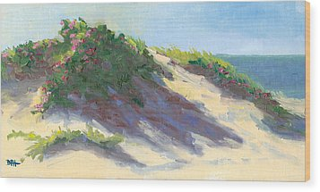 Dune Roses Wood Print by Barbara Hageman