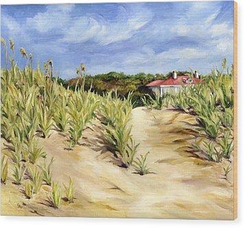 Dunes At Seabrook Wood Print by Cheryl Pass