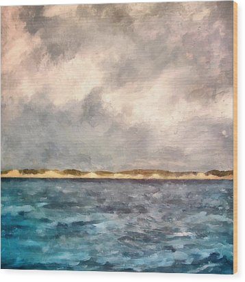 Dunes Of Lake Michigan With Rough Seas Wood Print by Michelle Calkins