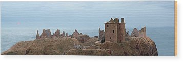 Wood Print featuring the photograph Dunnottar Castle Moonrise Panorama by Grant Glendinning