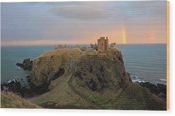 Wood Print featuring the photograph Dunnottar Castle Sunset Rainbow by Grant Glendinning