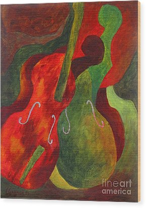 Duo Fiddles Wood Print