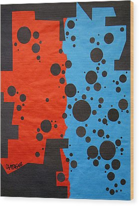 Duplicity Wood Print by Teddy Campagna