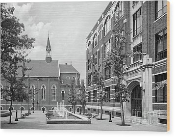Duquesne University Chapel And Canevin Hall Wood Print by University Icons