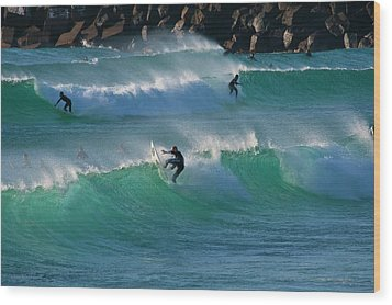 Wood Print featuring the photograph Duranbah Surfers by Odille Esmonde-Morgan