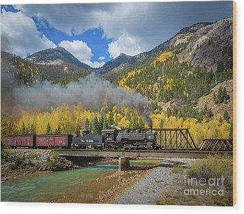 Durango-silverton Twin Bridges Wood Print by Inge Johnsson