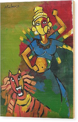 Durga Wood Print by Abdus Salam