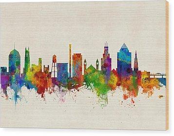 Durham North Carolina Skyline Wood Print