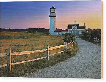 Dusk At Cape Cod Lighthouse Wood Print by Thomas Schoeller