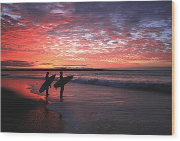 Dusk At Halfmoon Bay Wood Print by Mike Coverdale