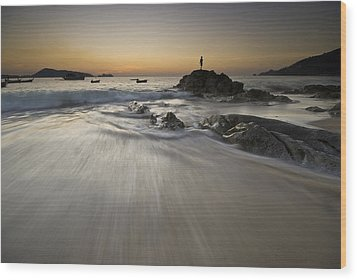Wood Print featuring the photograph Dusk At The Beach by Ng Hock How