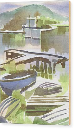 Wood Print featuring the painting Dusk At The Boat Dock by Kip DeVore