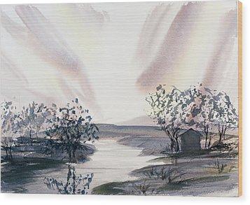 Dusk Creeping Up The River Wood Print