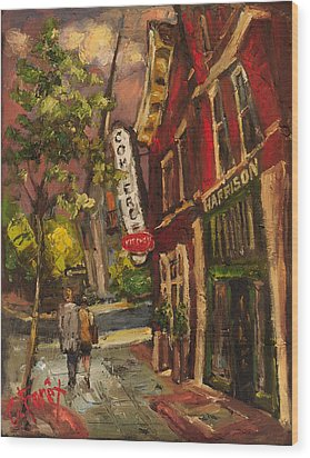 Dusk In Downtown Wood Print by Carole Foret