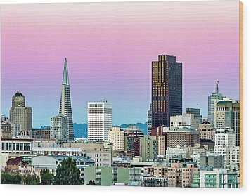 Wood Print featuring the photograph Dusk In San Francisco by Bill Gallagher
