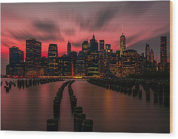 Dusk Manhattan Wood Print