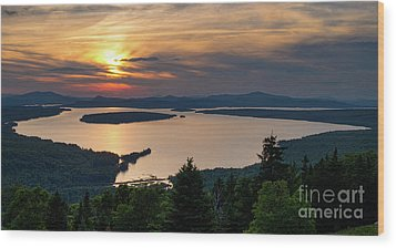 Wood Print featuring the photograph Dusk, Mooselookmeguntic Lake, Rangeley, Maine -63362-63364 by John Bald