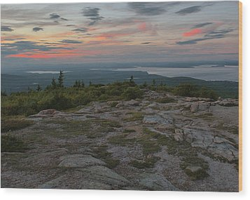 Wood Print featuring the photograph Dusk On Cadillac Ountain by Stephen  Vecchiotti