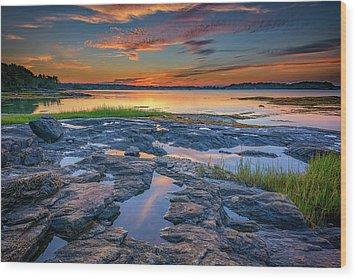 Wood Print featuring the photograph Dusk On Littlejohn Island by Rick Berk