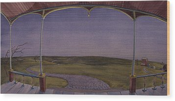 Wood Print featuring the painting Dusk On The Porch Of The Old Victorian by Scott Kirby